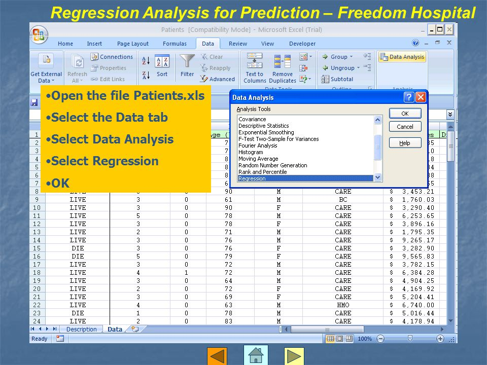 Regression Analysis for Prediction – Freedom Hospital Open the file Patients.xls Select the Data tab Select Data Analysis Select Regression OK