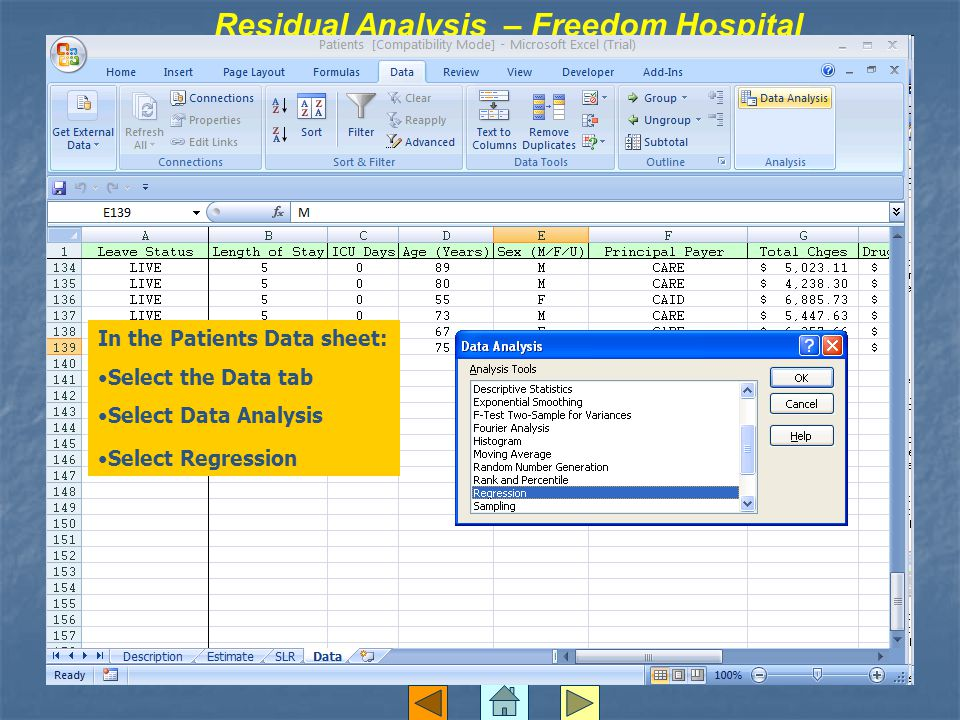 Residual Analysis – Freedom Hospital In the Patients Data sheet: Select the Data tab Select Data Analysis Select Regression