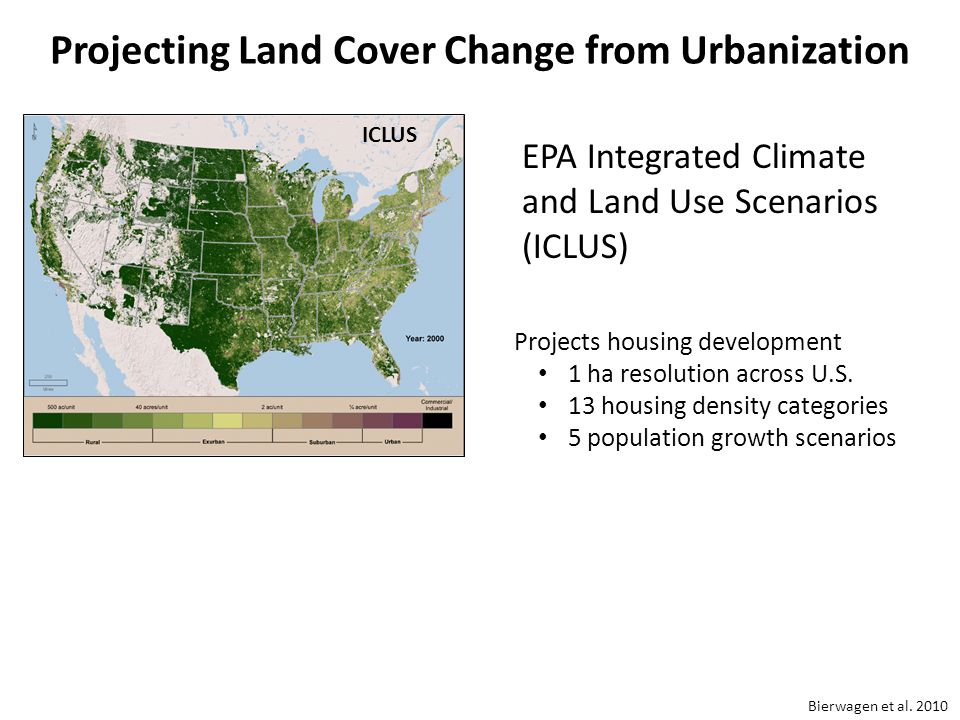 Projecting Land Cover Change from Urbanization Projects housing development 1 ha resolution across U.S.