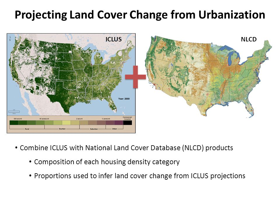 Projecting Land Cover Change from Urbanization Combine ICLUS with National Land Cover Database (NLCD) products Composition of each housing density category Proportions used to infer land cover change from ICLUS projections ICLUSNLCD