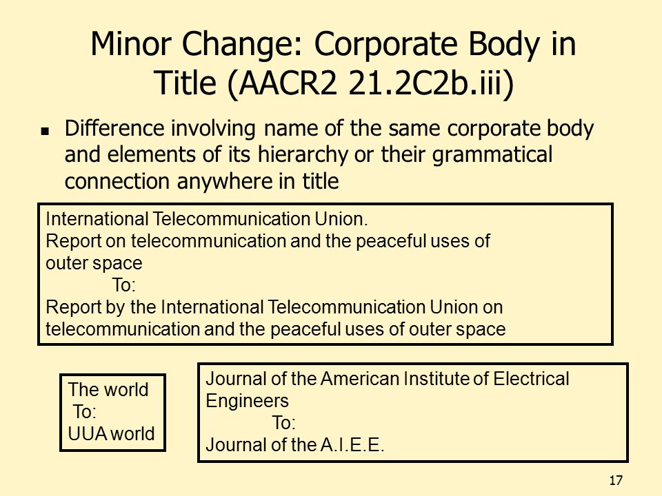 Minor Change: Corporate Body in Title (AACR2 21.2C2b.iii) Difference involving name of the same corporate body and elements of its hierarchy or their grammatical connection anywhere in title 17 Journal of the American Institute of Electrical Engineers To: Journal of the A.I.E.E.
