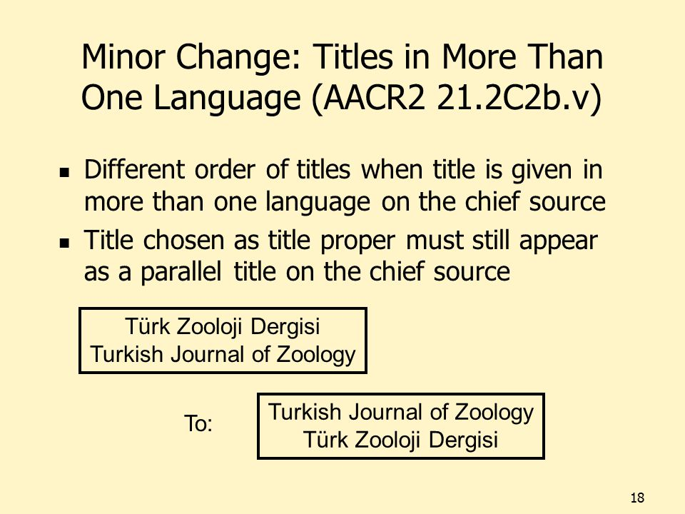 Minor Change: Titles in More Than One Language (AACR2 21.2C2b.v) Different order of titles when title is given in more than one language on the chief