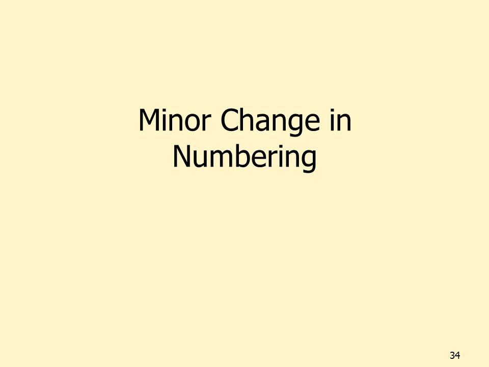 Minor Change in Numbering 34