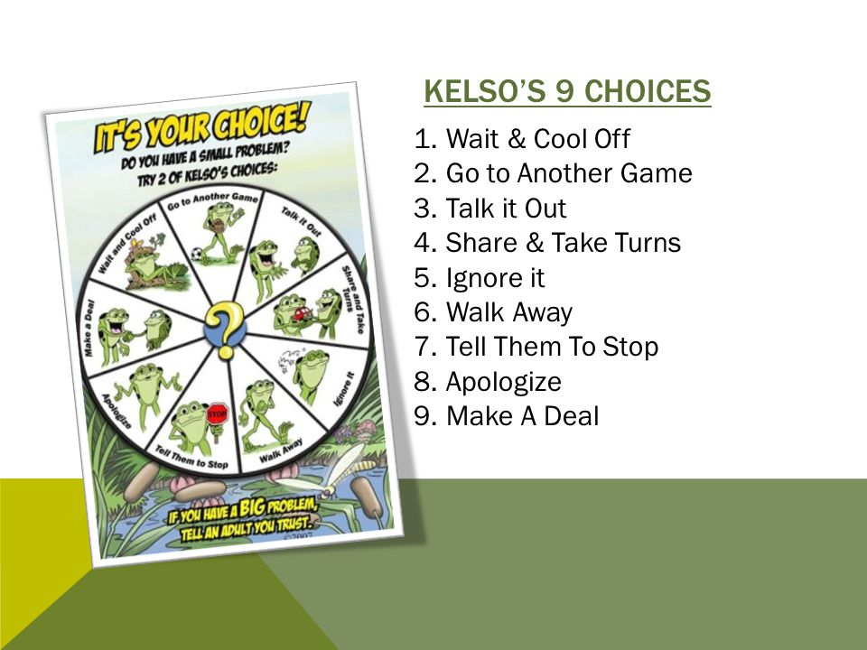 KELSO'S 9 CHOICES 1.Wait & Cool Off 2.Go to Another Game 3.Talk it Out 4.Share & Take Turns 5.Ignore it 6.Walk Away 7.Tell Them To Stop 8.Apologize 9.