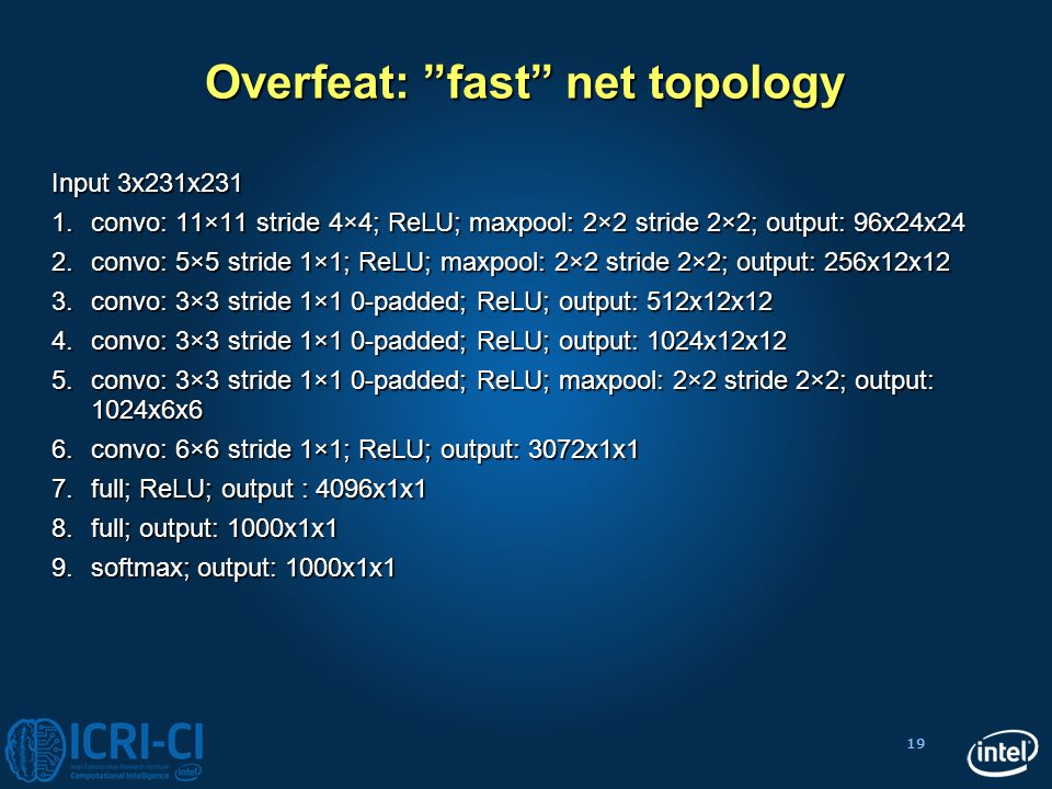 "19 Overfeat: ""fast"" net topology Input 3x231x231 1.convo: 11×11 stride 4×4; ReLU; maxpool: 2×2 stride 2×2; output: 96x24x24 2.convo: 5×5 stride 1×1; R"