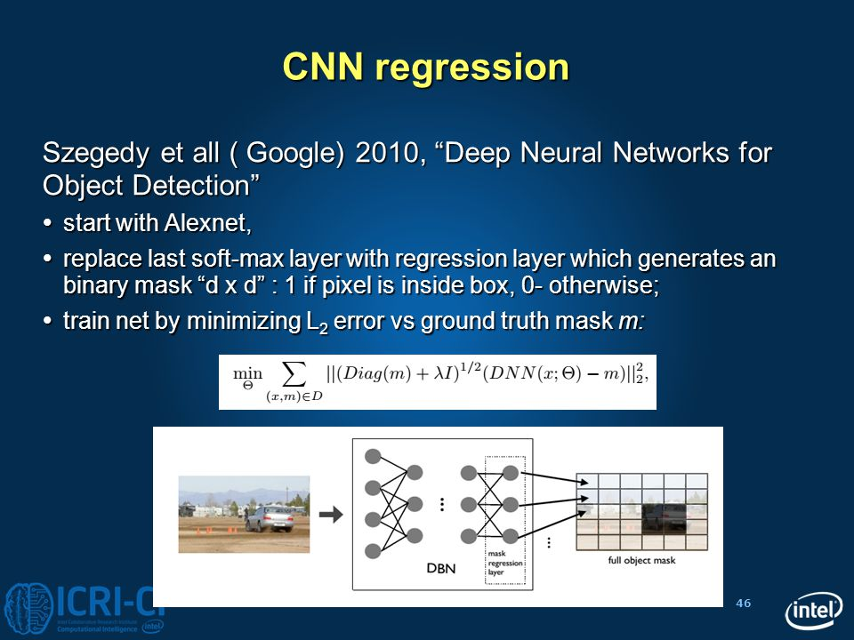 "46 CNN regression Szegedy et all ( Google) 2010, ""Deep Neural Networks for Object Detection""  start with Alexnet,  replace last soft-max layer with"