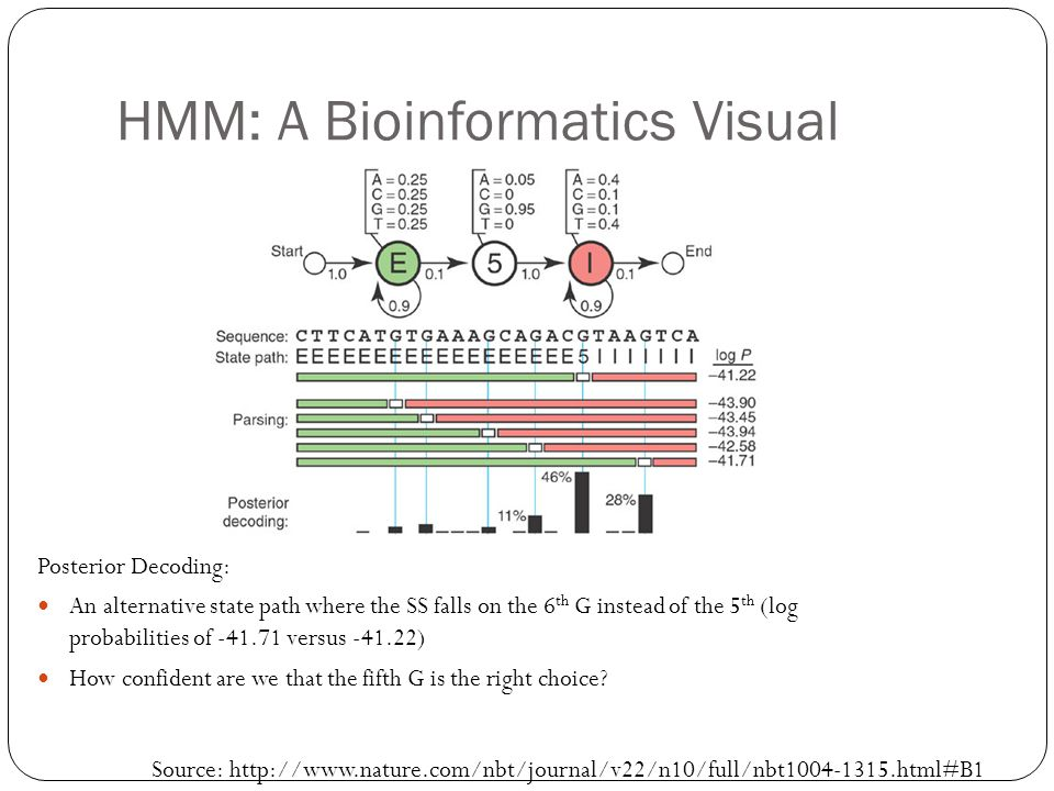 HMM: A Bioinformatics Visual Posterior Decoding: An alternative state path where the SS falls on the 6 th G instead of the 5 th (log probabilities of