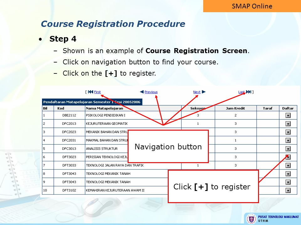 Step 4 –Shown is an example of Course Registration Screen.