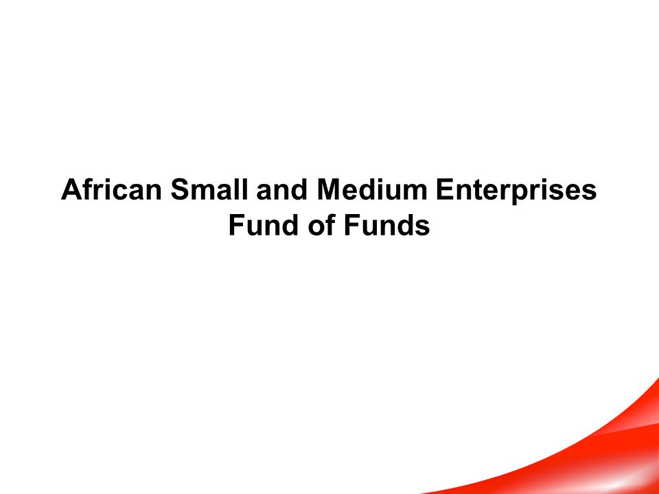 The African SME Fund of Funds limits the number of underlying funds Strategy Focus Permits intensive monitoring approach: A smaller number of underlying funds allows FOF to closely monitor performance of specific investment strategies, strategy development, changes in risk tolerance, social objectives, ESG issue adherence, etc.