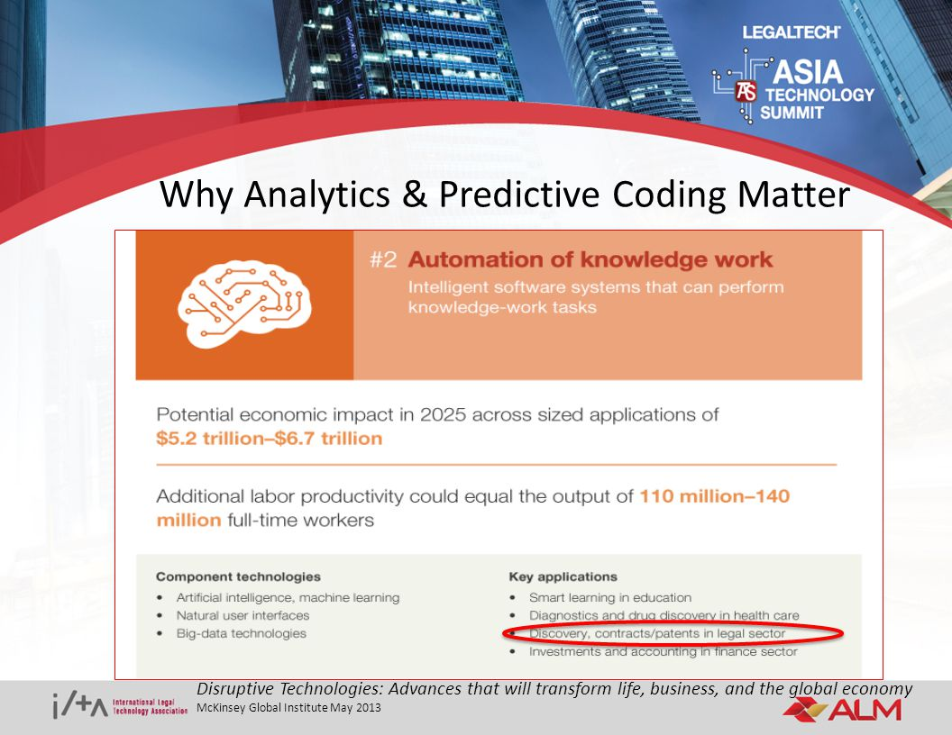 Why Analytics & Predictive Coding Matter Disruptive Technologies: Advances that will transform life, business, and the global economy McKinsey Global Institute May 2013