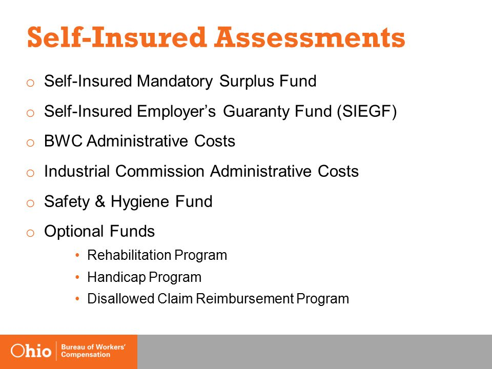 Self-Insured Assessments o Self-Insured Mandatory Surplus Fund o Self-Insured Employer's Guaranty Fund (SIEGF) o BWC Administrative Costs o Industrial Commission Administrative Costs o Safety & Hygiene Fund o Optional Funds Rehabilitation Program Handicap Program Disallowed Claim Reimbursement Program