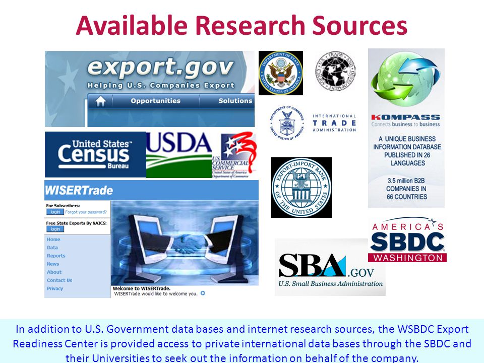 In addition to U.S. Government data bases and internet research sources, the WSBDC Export Readiness Center is provided access to private international