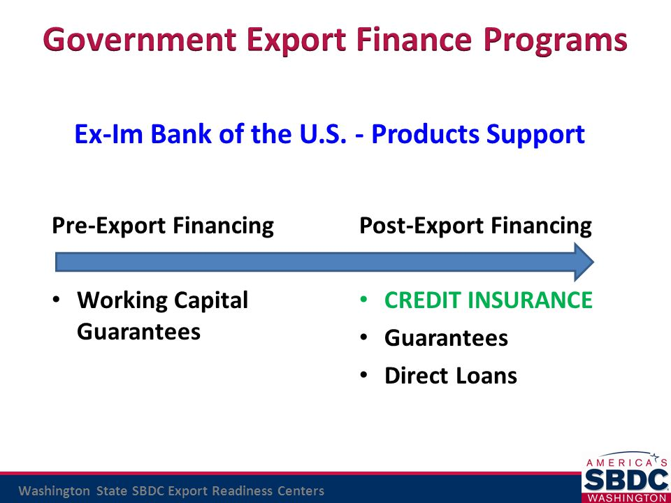 Washington State SBDC Export Readiness Centers Ex-Im Bank of the U.S. - Products Support Pre-Export Financing Working Capital Guarantees Post-Export F
