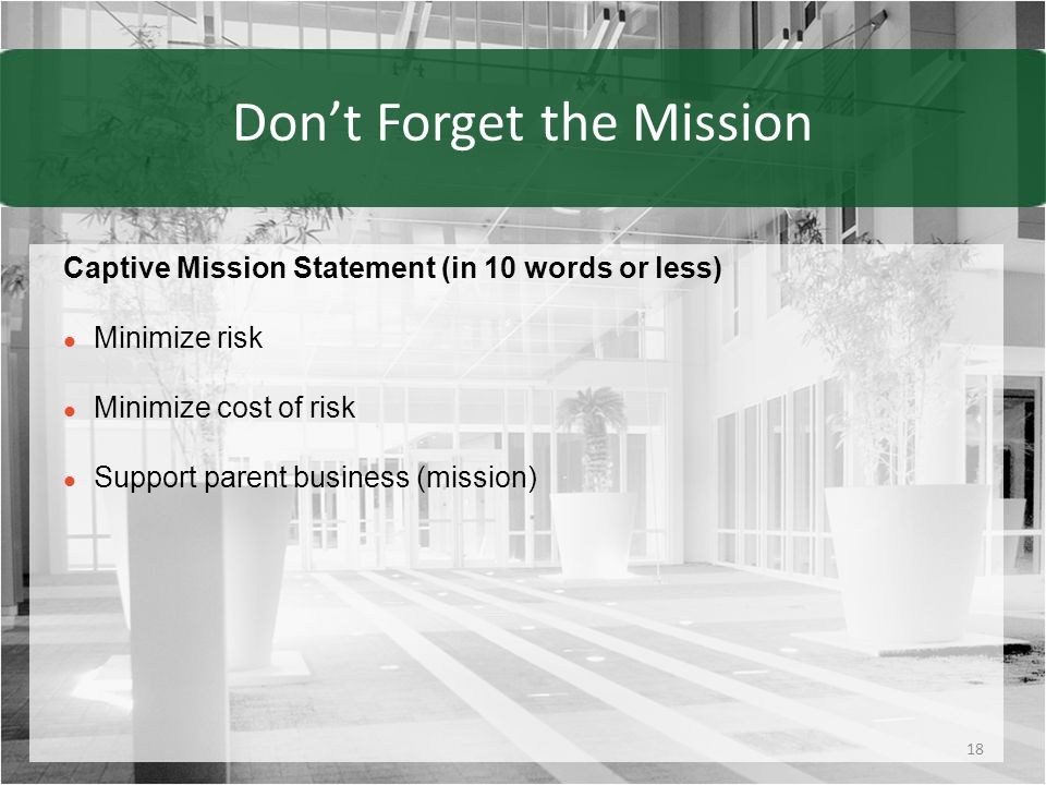Don't Forget the Mission Captive Mission Statement (in 10 words or less) Minimize risk Minimize cost of risk Support parent business (mission) 18