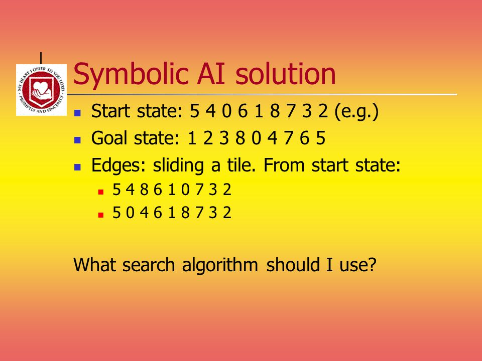 Symbolic AI solution Start state: 5 4 0 6 1 8 7 3 2 (e.g.) Goal state: 1 2 3 8 0 4 7 6 5 Edges: sliding a tile. From start state: 5 4 8 6 1 0 7 3 2 5