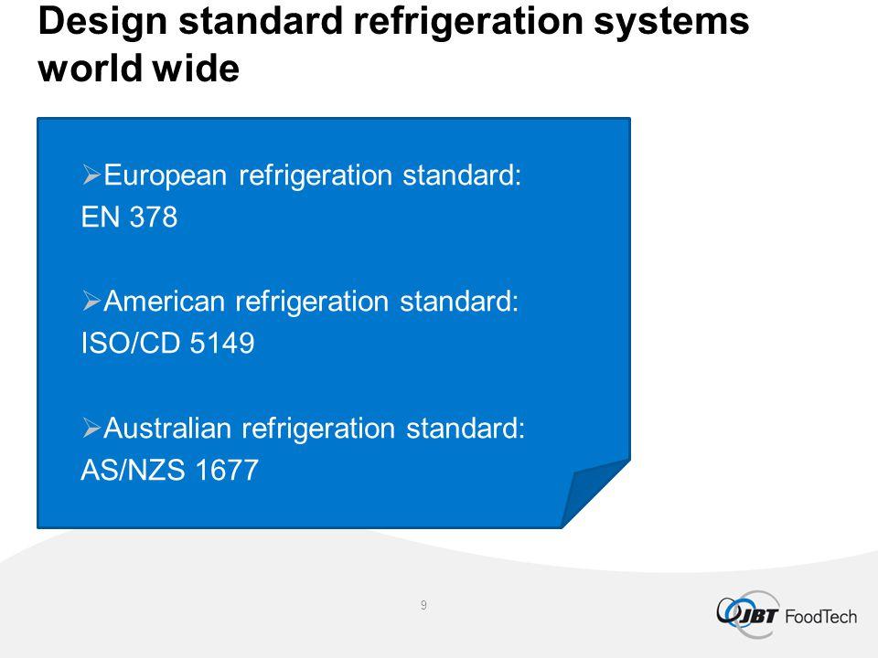 Design standard refrigeration systems world wide  European refrigeration standard: EN 378  American refrigeration standard: ISO/CD 5149  Australian