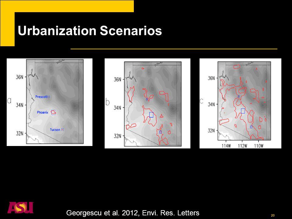20 Urbanization Scenarios Georgescu et al. 2012, Envi. Res. Letters