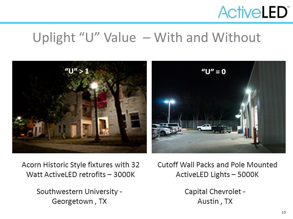"10 Uplight ""U"" Value – With and Without Acorn Historic Style fixtures with 32 Watt ActiveLED retrofits – 3000K AFTER BEFORE Southwestern University -"