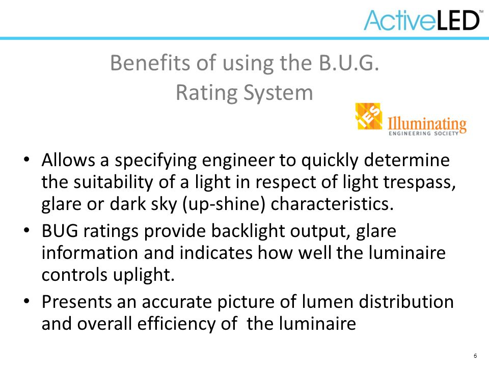 6 Allows a specifying engineer to quickly determine the suitability of a light in respect of light trespass, glare or dark sky (up-shine) characterist