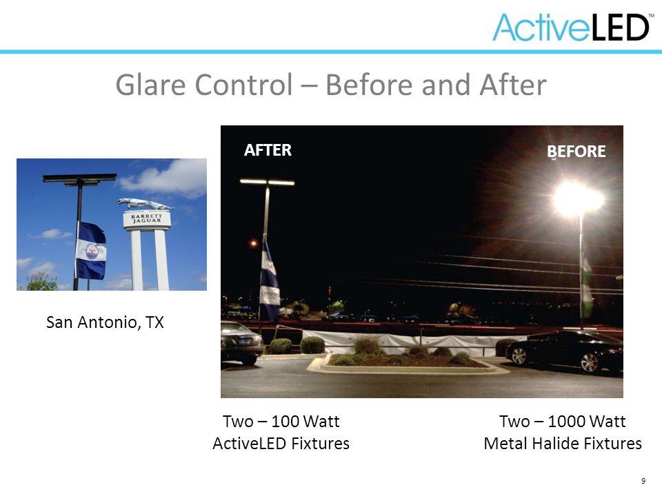 9 Glare Control – Before and After Two – 100 Watt ActiveLED Fixtures Two – 1000 Watt Metal Halide Fixtures AFTER BEFORE San Antonio, TX