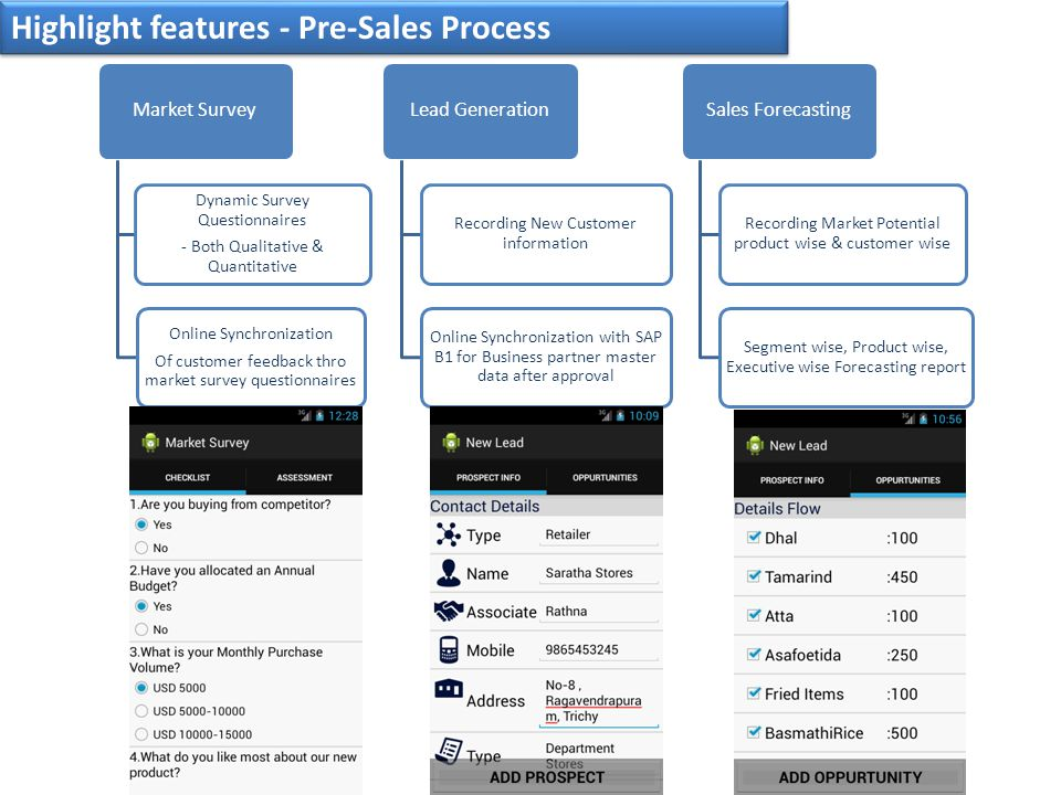 Highlight features - Pre-Sales Process Market Survey Dynamic Survey Questionnaires - Both Qualitative & Quantitative Online Synchronization Of customer feedback thro market survey questionnaires Lead Generation Recording New Customer information Online Synchronization with SAP B1 for Business partner master data after approval Sales Forecasting Recording Market Potential product wise & customer wise Segment wise, Product wise, Executive wise Forecasting report