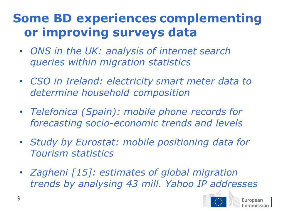 Some BD experiences complementing or improving surveys data ONS in the UK: analysis of internet search queries within migration statistics CSO in Irel