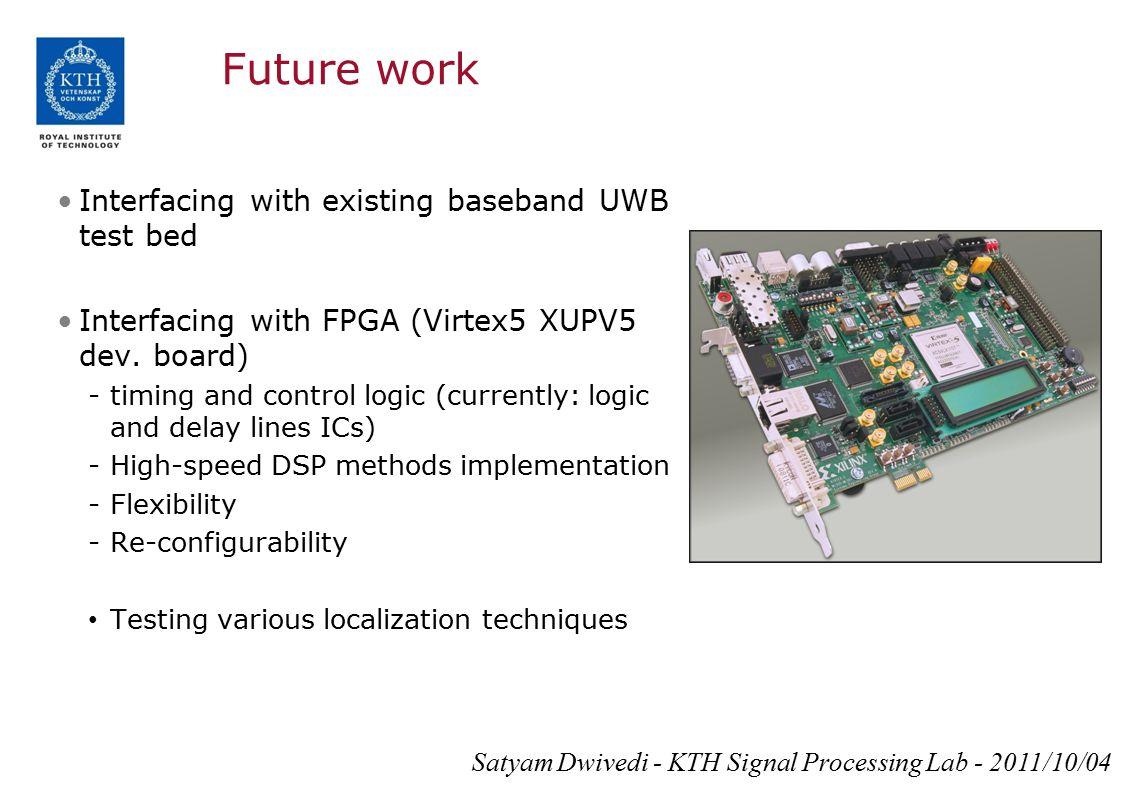 Future work Interfacing with existing baseband UWB test bed Interfacing with FPGA (Virtex5 XUPV5 dev. board) -timing and control logic (currently: log