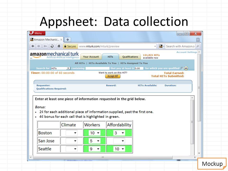 Appsheet: Data collection Mockup