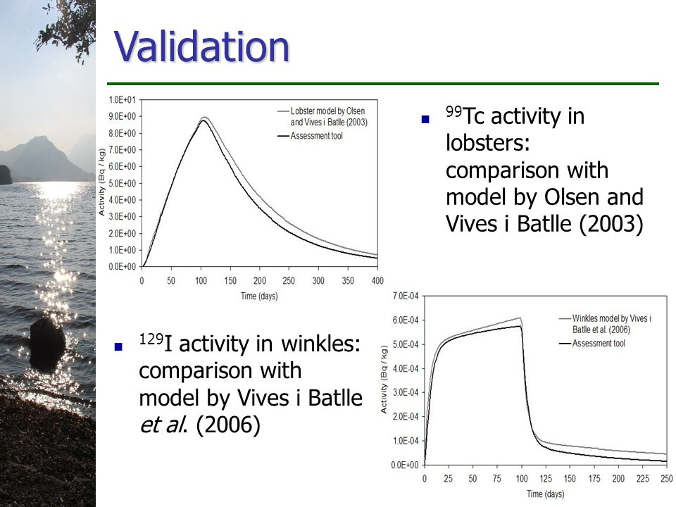 Validation 99 Tc activity in lobsters: comparison with model by Olsen and Vives i Batlle (2003) 129 I activity in winkles: comparison with model by Vives i Batlle et al.