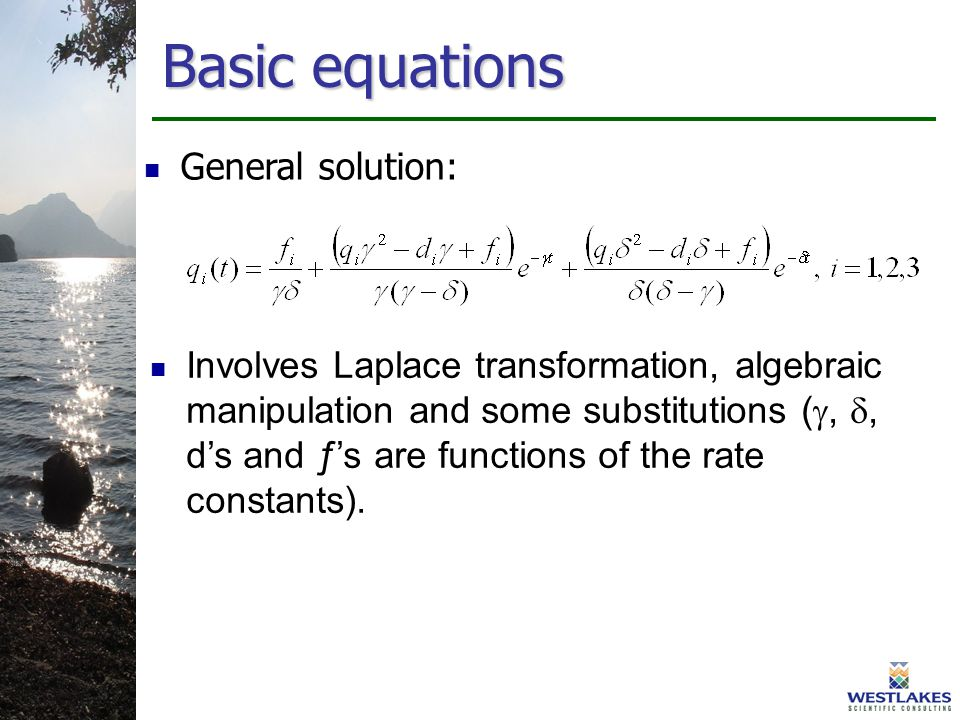 General solution: Involves Laplace transformation, algebraic manipulation and some substitutions ( , , d's and ƒ's are functions of the rate constants).