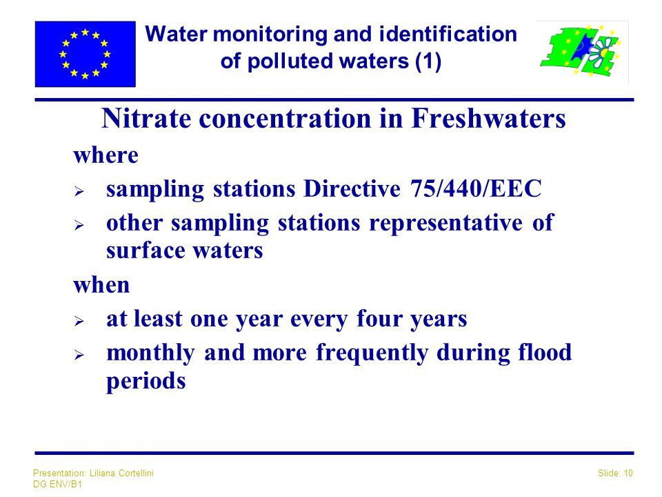Slide: 10Presentation: Liliana Cortellini DG ENV/B1 Water monitoring and identification of polluted waters (1) Nitrate concentration in Freshwaters wh