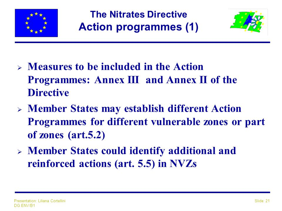 Slide: 21Presentation: Liliana Cortellini DG ENV/B1 The Nitrates Directive Action programmes (1)  Measures to be included in the Action Programmes: A