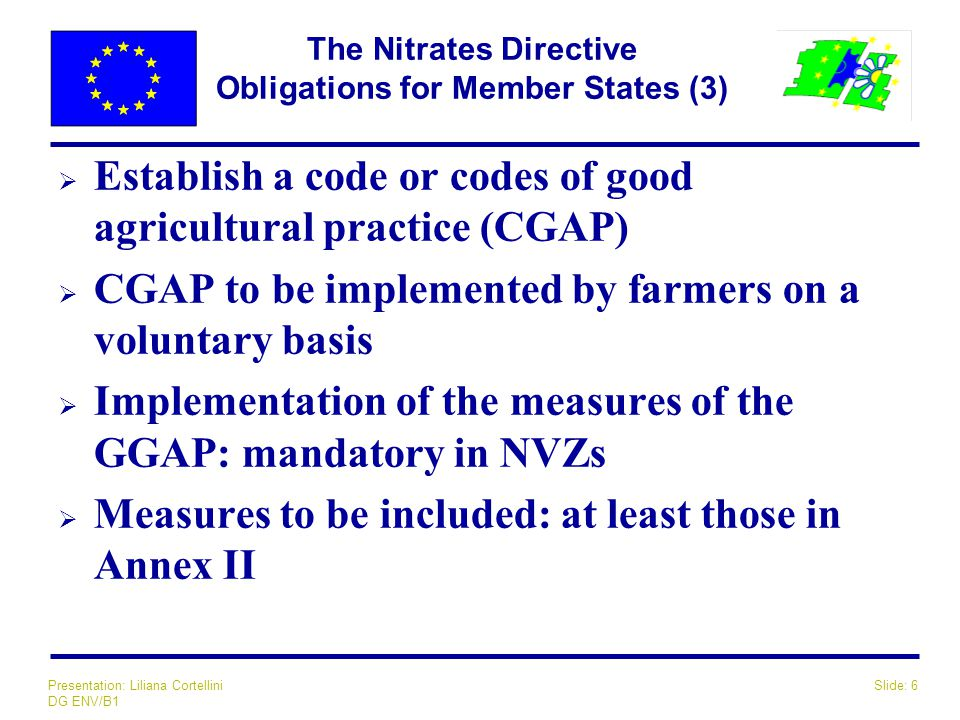 Slide: 6Presentation: Liliana Cortellini DG ENV/B1 The Nitrates Directive Obligations for Member States (3)  Establish a code or codes of good agricu