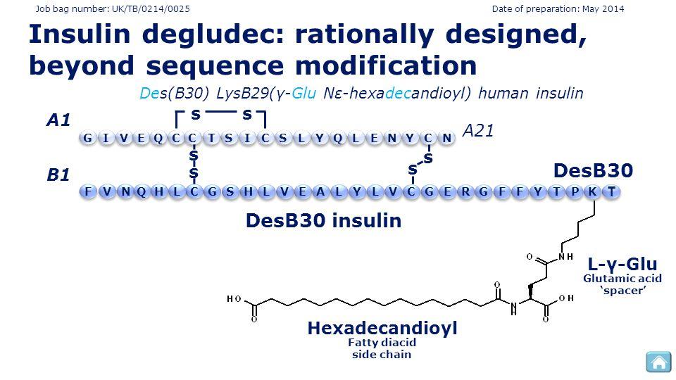 Job bag number: UK/TB/0214/0025 Date of preparation: May 2014 L-γ-Glu DesB30 insulin Glutamic acid 'spacer' DesB30 T T Des(B30) LysB29(γ-Glu Nε-hexadecandioyl) human insulin s s s s A1 B1 A21 ss TYGEECYCCNLQLSISQVINC PT Y YFFFGGGREECCVLLAVLHSLHQ N VK Hexadecandioyl Fatty diacid side chain Insulin degludec: rationally designed, beyond sequence modification