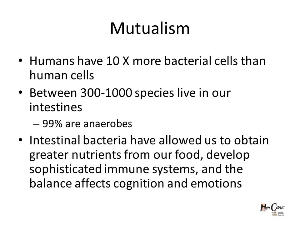 Mutualism Humans have 10 X more bacterial cells than human cells Between 300-1000 species live in our intestines – 99% are anaerobes Intestinal bacteria have allowed us to obtain greater nutrients from our food, develop sophisticated immune systems, and the balance affects cognition and emotions