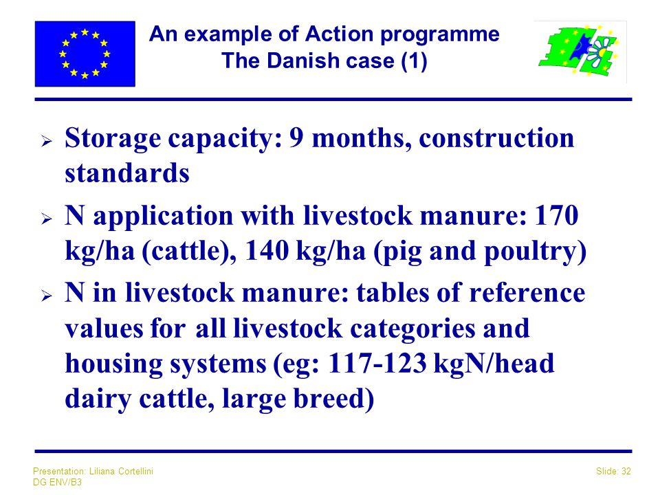 Slide: 32Presentation: Liliana Cortellini DG ENV/B3 An example of Action programme The Danish case (1)  Storage capacity: 9 months, construction standards  N application with livestock manure: 170 kg/ha (cattle), 140 kg/ha (pig and poultry)  N in livestock manure: tables of reference values for all livestock categories and housing systems (eg: 117-123 kgN/head dairy cattle, large breed)