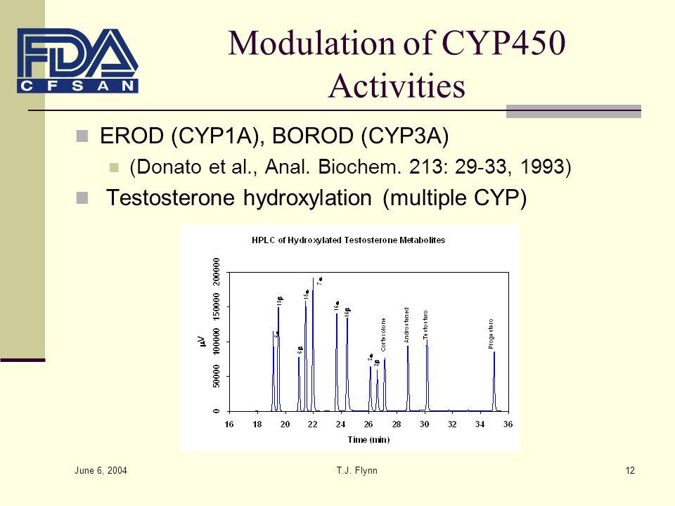 June 6, 2004 T.J. Flynn12 Modulation of CYP450 Activities EROD (CYP1A), BOROD (CYP3A) (Donato et al., Anal. Biochem. 213: 29-33, 1993) Testosterone hy