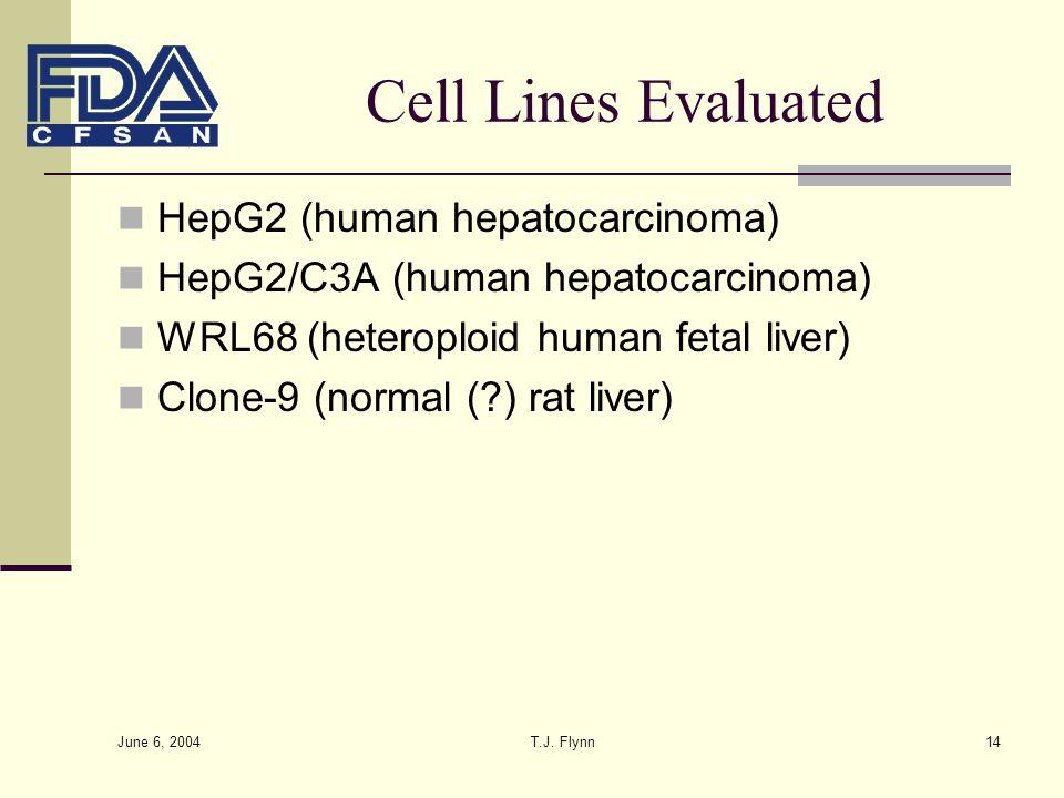 June 6, 2004 T.J. Flynn14 Cell Lines Evaluated HepG2 (human hepatocarcinoma) HepG2/C3A (human hepatocarcinoma) WRL68 (heteroploid human fetal liver) C