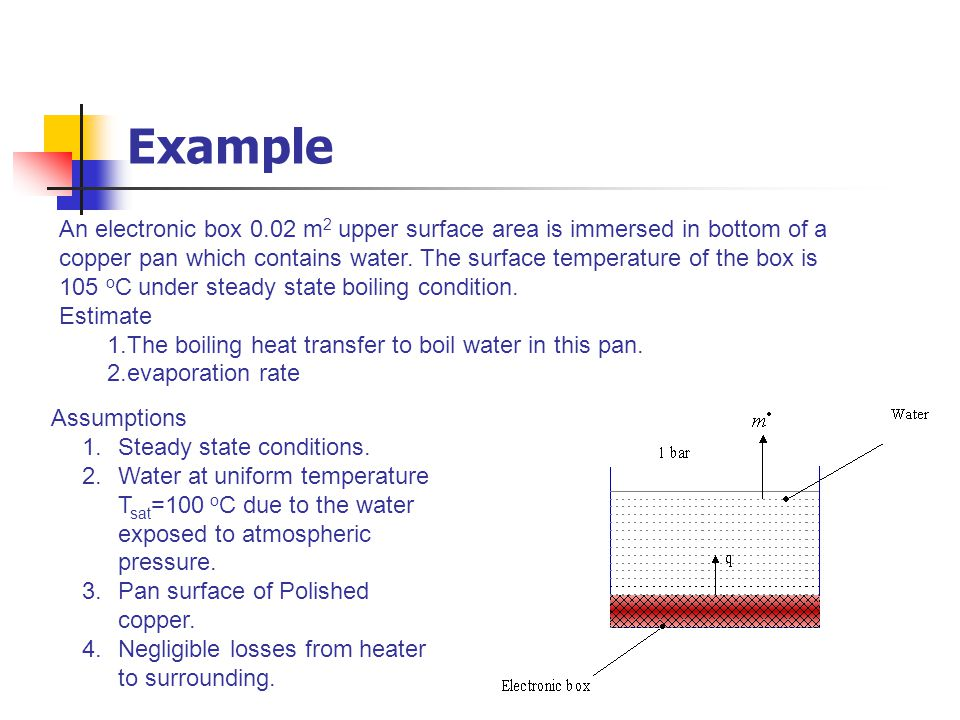 An electronic box 0.02 m 2 upper surface area is immersed in bottom of a copper pan which contains water. The surface temperature of the box is 105 o
