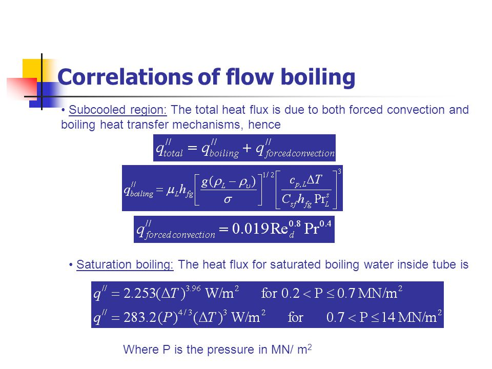 Subcooled region: The total heat flux is due to both forced convection and boiling heat transfer mechanisms, hence Saturation boiling: The heat flux f