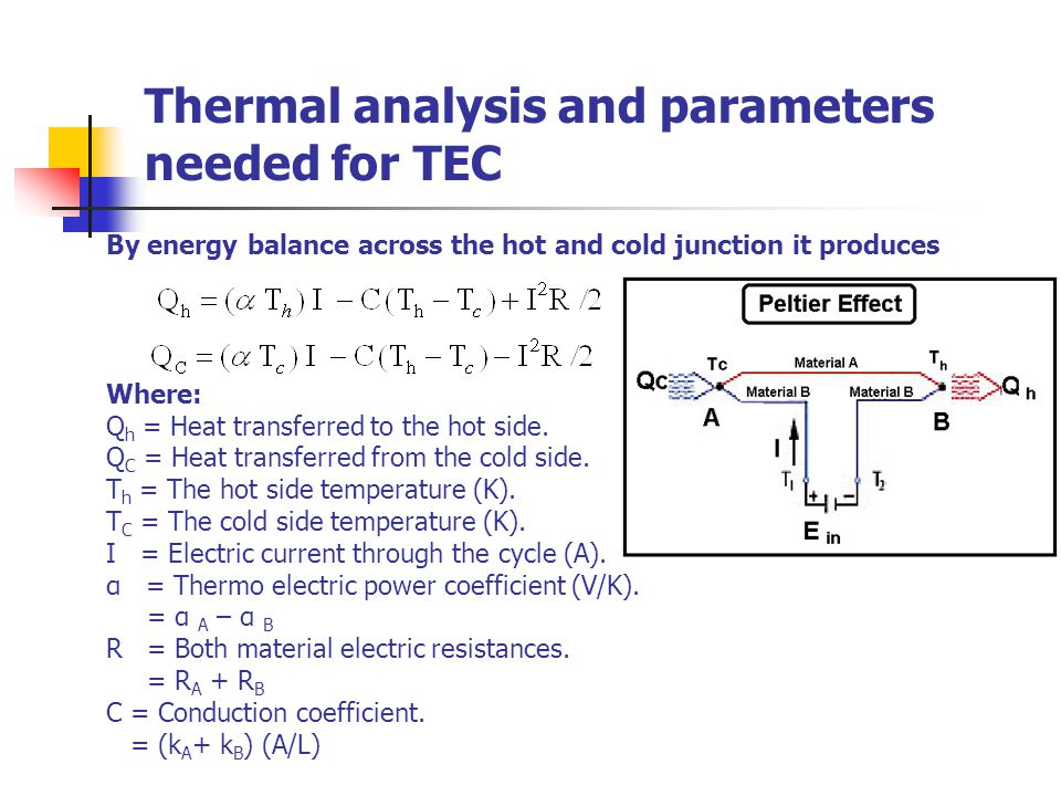 Thermal analysis and parameters needed for TEC Where: Q h = Heat transferred to the hot side. Q C = Heat transferred from the cold side. T h = The hot