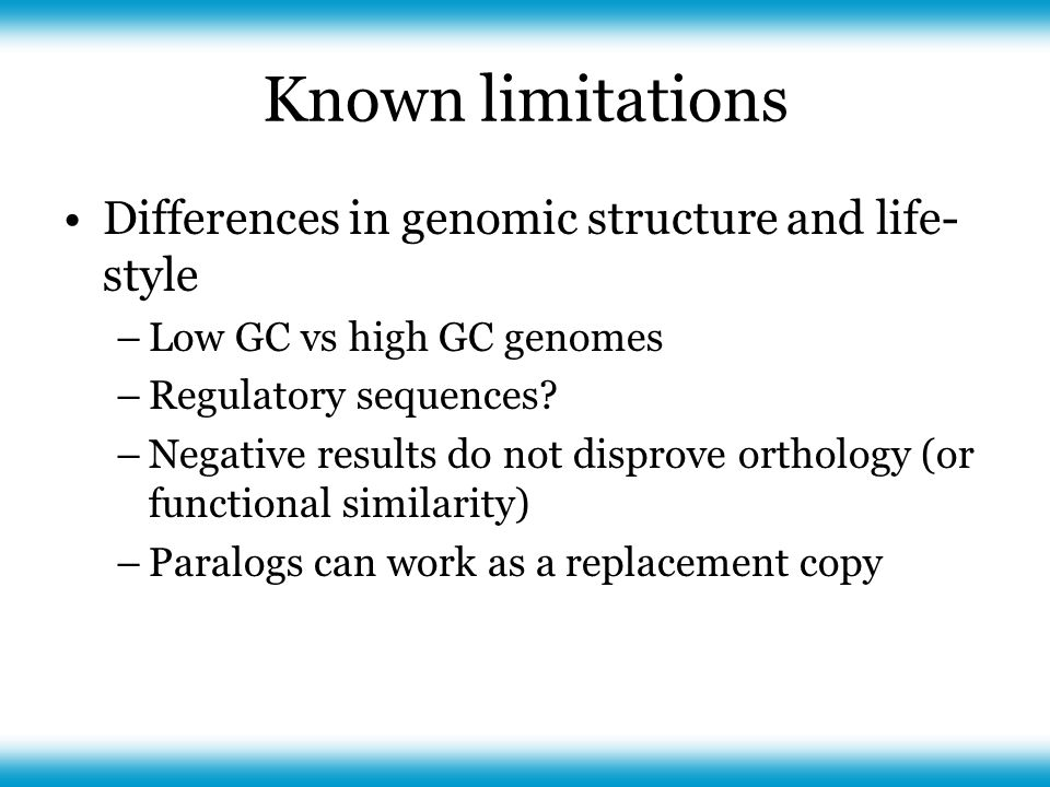 Known limitations Differences in genomic structure and life- style –Low GC vs high GC genomes –Regulatory sequences.