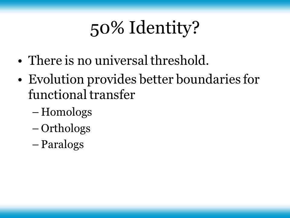 50% Identity. There is no universal threshold.