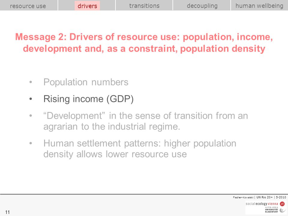 11 transitions resource use drivershuman wellbeing decoupling Fischer-Kowalski | UN Rio 20+ | 5-2010 Message 2: Drivers of resource use: population, i