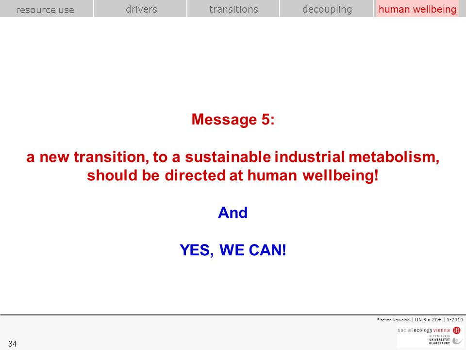 34 transitions resource use drivershuman wellbeing decoupling Fischer-Kowalski | UN Rio 20+ | 5-2010 Message 5: a new transition, to a sustainable ind