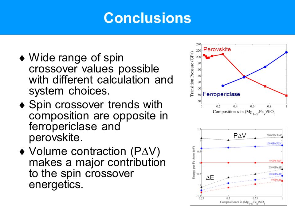 Conclusions  Wide range of spin crossover values possible with different calculation and system choices.  Spin crossover trends with composition are