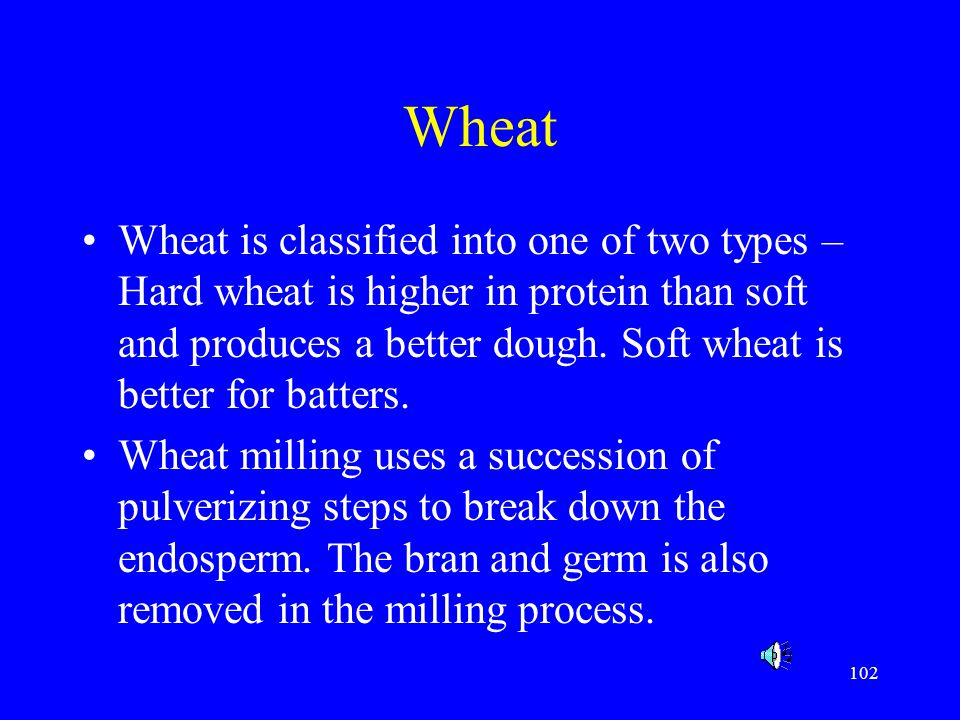 102 Wheat Wheat is classified into one of two types – Hard wheat is higher in protein than soft and produces a better dough. Soft wheat is better for