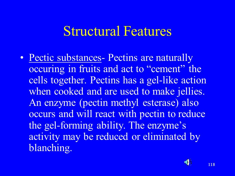 """118 Structural Features Pectic substances- Pectins are naturally occuring in fruits and act to """"cement"""" the cells together. Pectins has a gel-like act"""