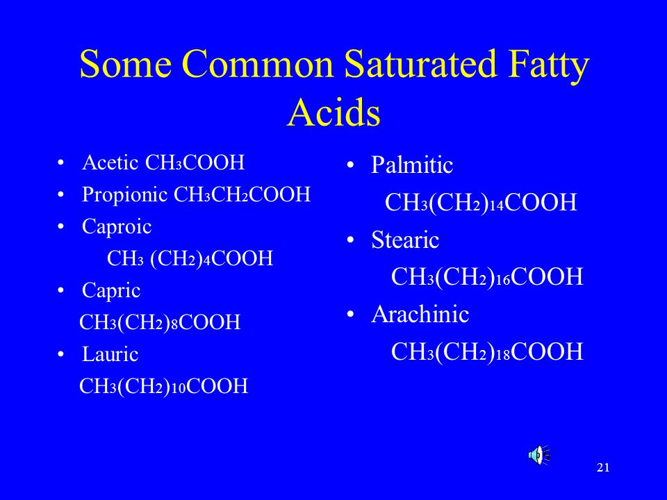21 Some Common Saturated Fatty Acids Acetic CH 3 COOH Propionic CH 3 CH 2 COOH Caproic CH 3 (CH 2 ) 4 COOH Capric CH 3 (CH 2 ) 8 COOH Lauric CH 3 (CH