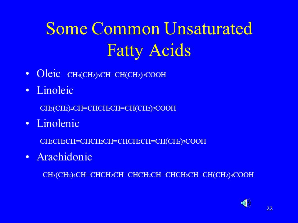 22 Some Common Unsaturated Fatty Acids Oleic CH 3 (CH 2 ) 5 CH=CH(CH 2 ) 7 COOH Linoleic CH 3 (CH 2 ) 4 CH=CHCH 2 CH=CH(CH 2 ) 7 COOH Linolenic CH 3 C